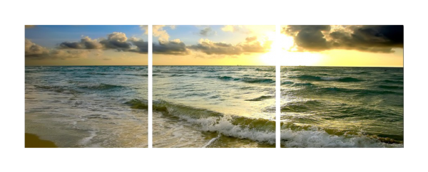 Waves at Sunset Triptych