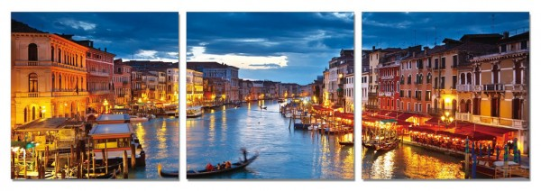 Venetian Cafes at Night Triptych