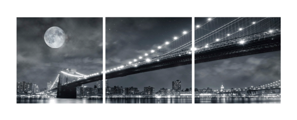 Moon Over the Brooklyn Bridge Triptych