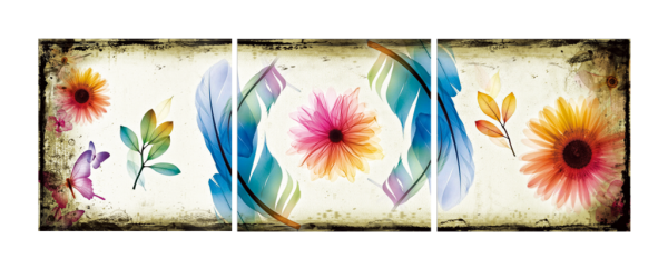 Butterflies and Flowers Triptych