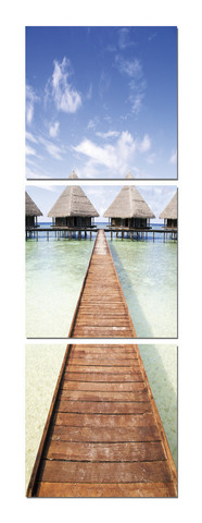 Walk Across The Water-Maldives Pier Triptych