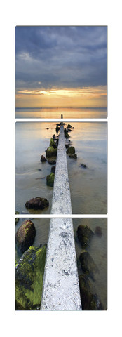 Stretching Out Vertical Pier Triptych Photo